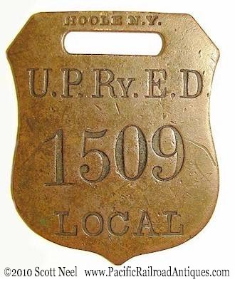 Union Pacific brass tag